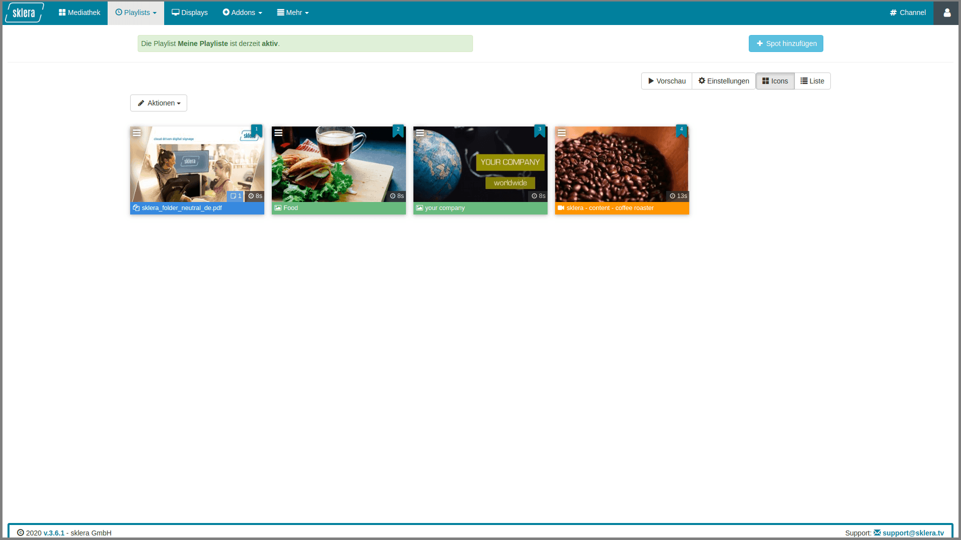 This image shows playlists in the sklera cms.