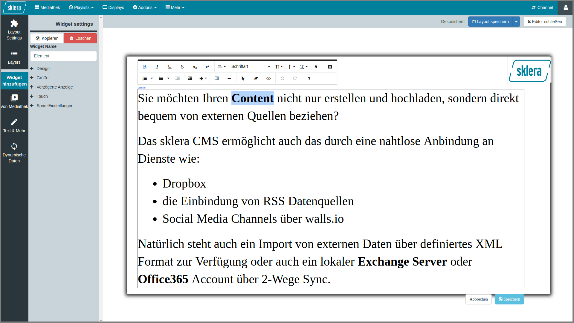 This image shows the WYSIWYG editor of the layout designer.