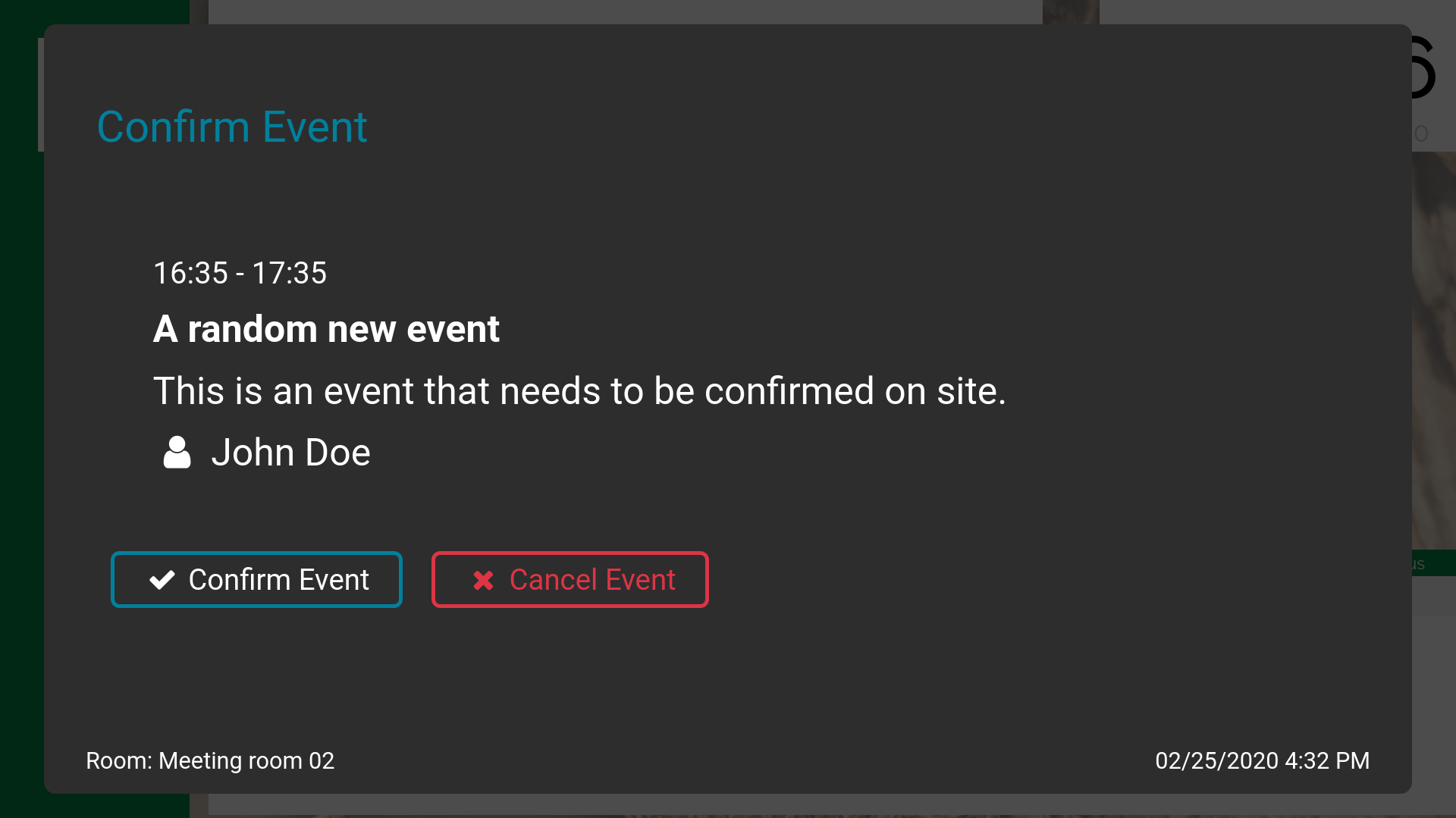 Picture of a confirm event dialog shown on a doorsign screen