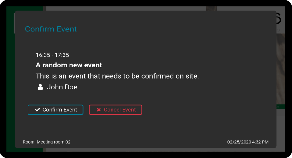 Picture of a confirm event dialog shown on a doorsign screen.